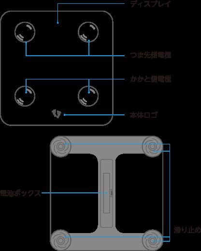 ディスプレイ つま先側電極 かかと側電極 本体ロゴ 電池ボックス 滑り止め